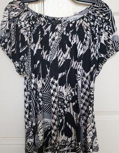 Style & Co Black/Cream Mixed Print Top